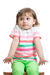 kid girl looks puzzled, isolated