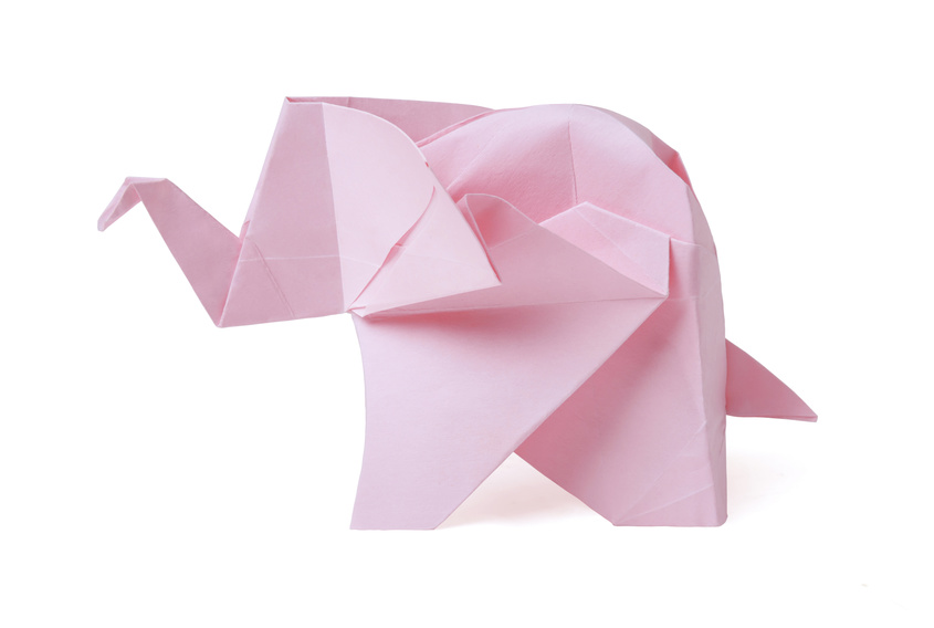 Origami paper pink elephant